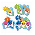 Clementoni-20828 Baby Shark - 4 Progressive Puzzles (3/6/9/12 Teile)