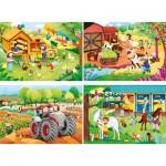 Clementoni-21304 4 Puzzles - The Farm (2x20, 2x60 Pièces)