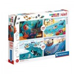 Clementoni-21308 4 Puzzles - Seaworld