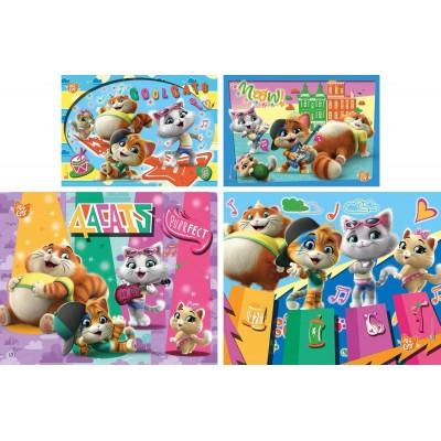 Clementoni-21407 44 Cats - 4 Progressive Puzzles (20/60/100/180 Teile)