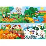 Clementoni-21408 Die 4 Jahreszeiten - 4 Progressive Puzzles (20/60/100/180 Teile)