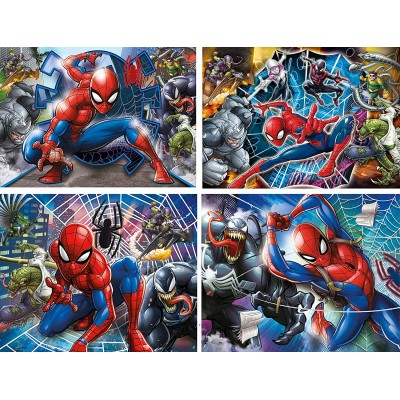 Clementoni-21410 Spiderman - 4 Progressive Puzzles (20/60/100/180 Teile)
