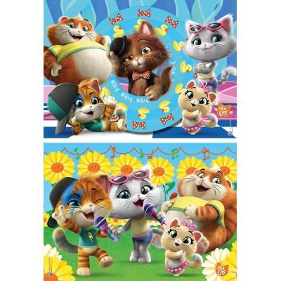 Clementoni-21607 2 Puzzles - 44 Cats