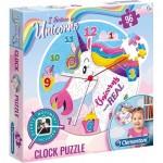 Clementoni-23035 Puzzle-Uhr - Einhorn