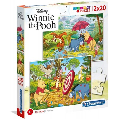 Clementoni-24516 2 Puzzles - Winnie the Pooh