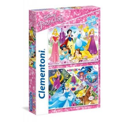 Clementoni-24751 2 Puzzles - Disney Princess