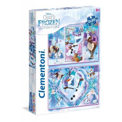 Clementoni-24752 2 Puzzles - Frozen