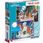 Clementoni-24764 2 Puzzles - Disney Animals
