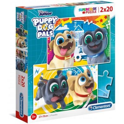 Clementoni-24767 2 Puzzles - Puppy Dog Pals