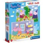 Puzzle  Clementoni-24778 Peppa Pig Supercolor Pig (2x20 Teile)