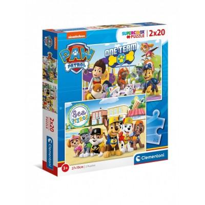 Clementoni-24779 2 Puzzles - Paw Patrol