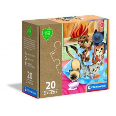 Clementoni-24784 2 Puzzles - Cats