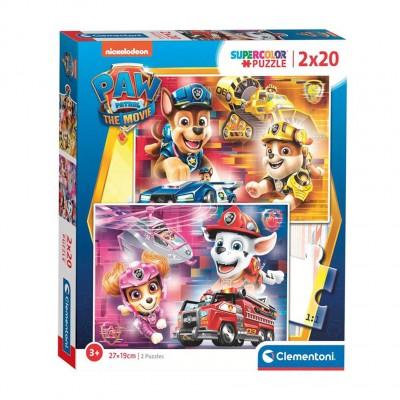 Clementoni-24786 2 Puzzles - Paw Patrol