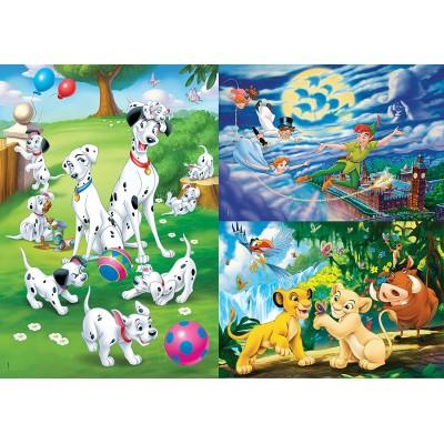 Clementoni-25212 3 Puzzles - Disney