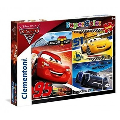 Clementoni-25221 3 Puzzles - Cars 3