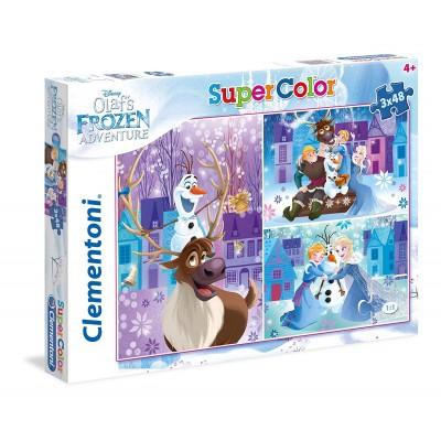 Clementoni-25228 3 Puzzles - Frozen