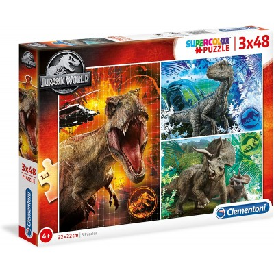 Clementoni-25250 3 Puzzles - Jurassic World (3x48)
