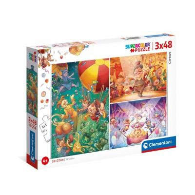 Clementoni-25264 3 Puzzles - Circus