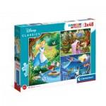 Clementoni-25267 3 Puzzles - Disney Classic