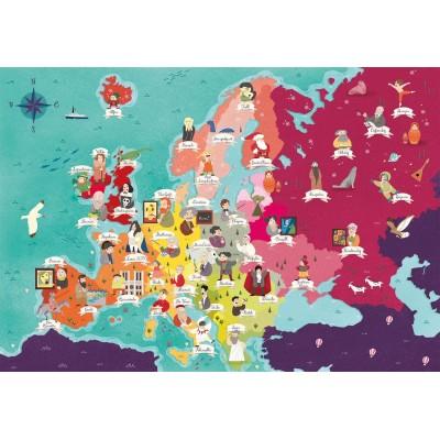 Puzzle  Clementoni-29061 Exploring Maps : Europe - Monuments + People