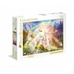 Puzzle  Clementoni-35054 Einhörner im Sonnenaufgang