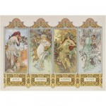 Puzzle  Clementoni-39177 Alphonse Maria Mucha: Die 4 Jahreszeiten