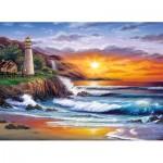 Puzzle  Clementoni-39368 Sundram: Leuchtturm bei Sonnenuntergang