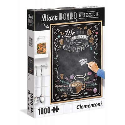 Clementoni-39466 Black Board Puzzle - Life is too short