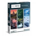 Clementoni-39800 3 Puzzles - Natur