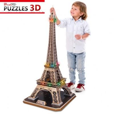 Cubic-Fun-L091H Puzzle 3D mit LED - Eiffelturm, Paris - Schwierigkeit: 6/8