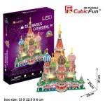 Cubic-Fun-L519h Puzzle 3D mit LED - Moskau: Basilius-Kathedrale - Schwierigkeit: 6/8