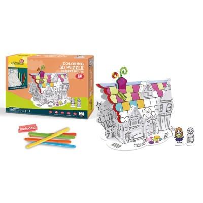 Cubic-Fun-P688h 3D Puzzle - Ausmalpuzzle Knusperhäuschen