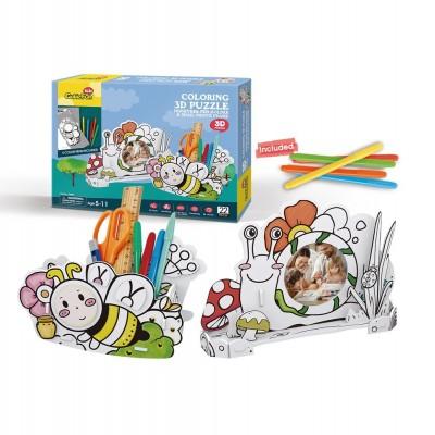 Cubic-Fun-P694h 3D Puzzle - Stiftehalter Biene & Bilderrahmen Schnecke