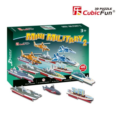 Cubic-Fun-S3023H Puzzle 3D Mini - Militärflugzeuge und Schiffe