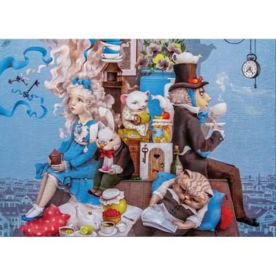 HCM-Kinzel-69132 Holzpuzzle - Alice Verrückte Teeparty