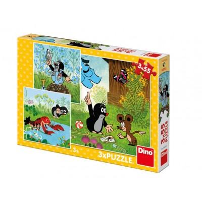 Dino-33525 3 Puzzles - The Little Mole