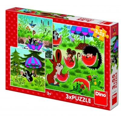 Dino-33526 3 Puzzles - Little Mole and the Umbrella