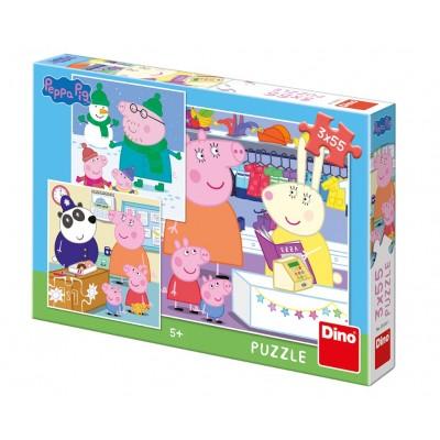 Dino-33530 3 Puzzles - Peppa Pig