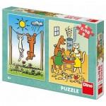 Dino-38159 2 Puzzles - Doggie & Pussycat