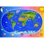 Puzzle  Dino-47213 Weltkarte (auf Englisch)