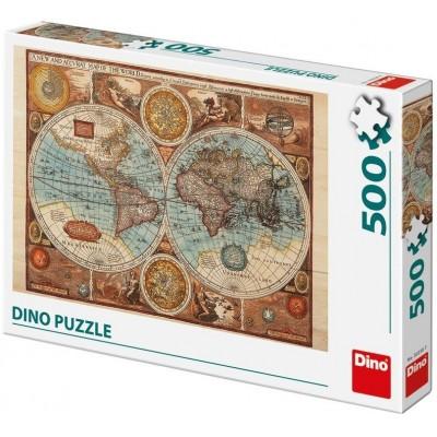 Puzzle  Dino-50230 Antike Weltkarte, 1626
