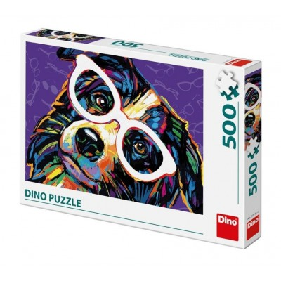 Puzzle Dino-50235 Hund mit Brille