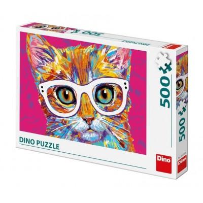 Puzzle Dino-50236 Katze mit Brille