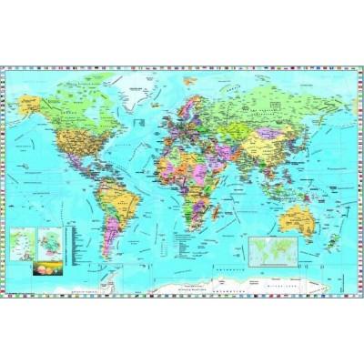 Puzzle Dino-53248 Weltkarte (auf Englisch)