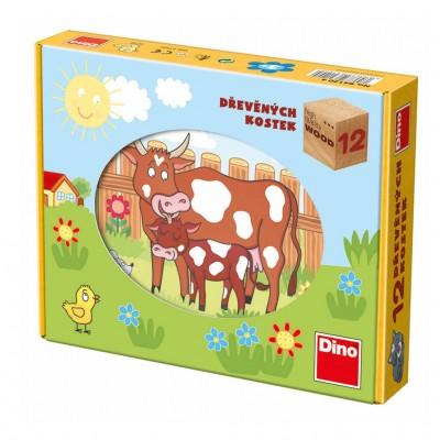 Dino-64120 Holz Würfelpuzzle - Tiere auf dem Bauernhof