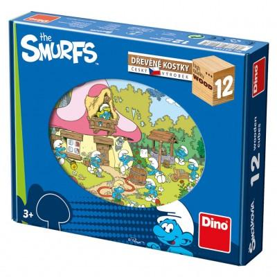 Dino-64123 Holz Würfelpuzzle - Die Schlümpfe