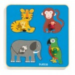 Djeco-01062 Holz-Rahmenpuzzle - Family Jungle