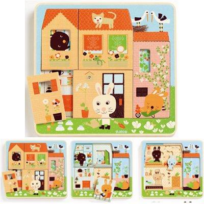 Djeco-01480 Holzpuzzle - Kaninchenhäuschen