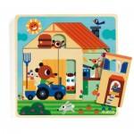 Djeco-01486 Holzpuzzle - Chez Gaby