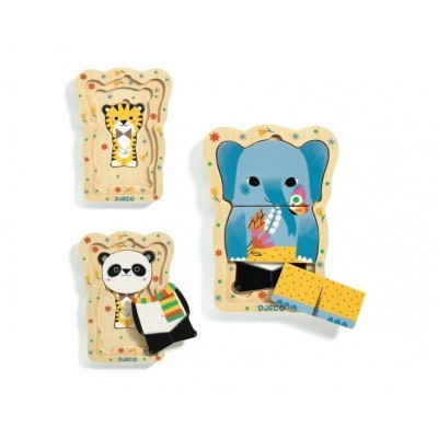 Djeco-01488 Holzpuzzle - Lucky and Co